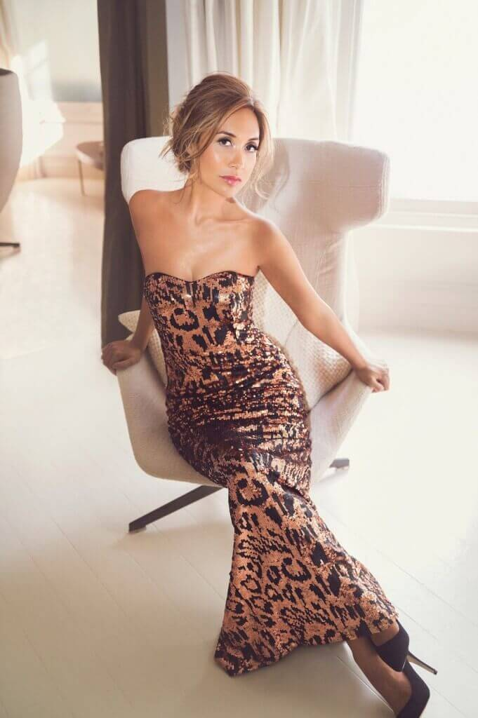 STRAPLESS SEQUIN  LEOPARD PRINT EVENING DRESS £219