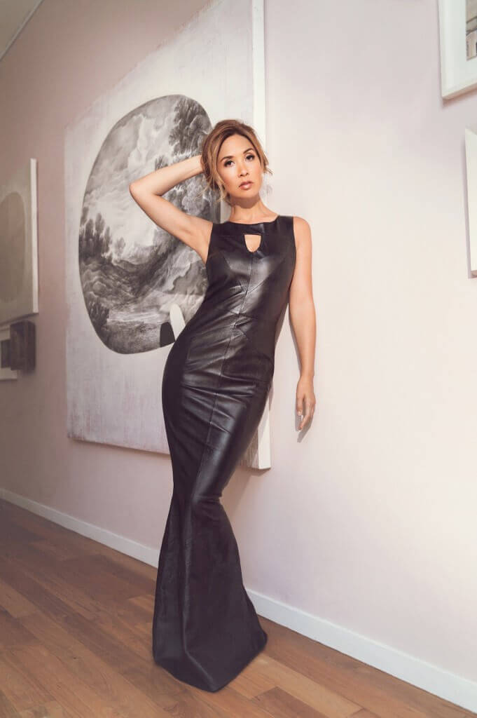 BLACK LEATHER FISHTAIL BALLGOWN £219