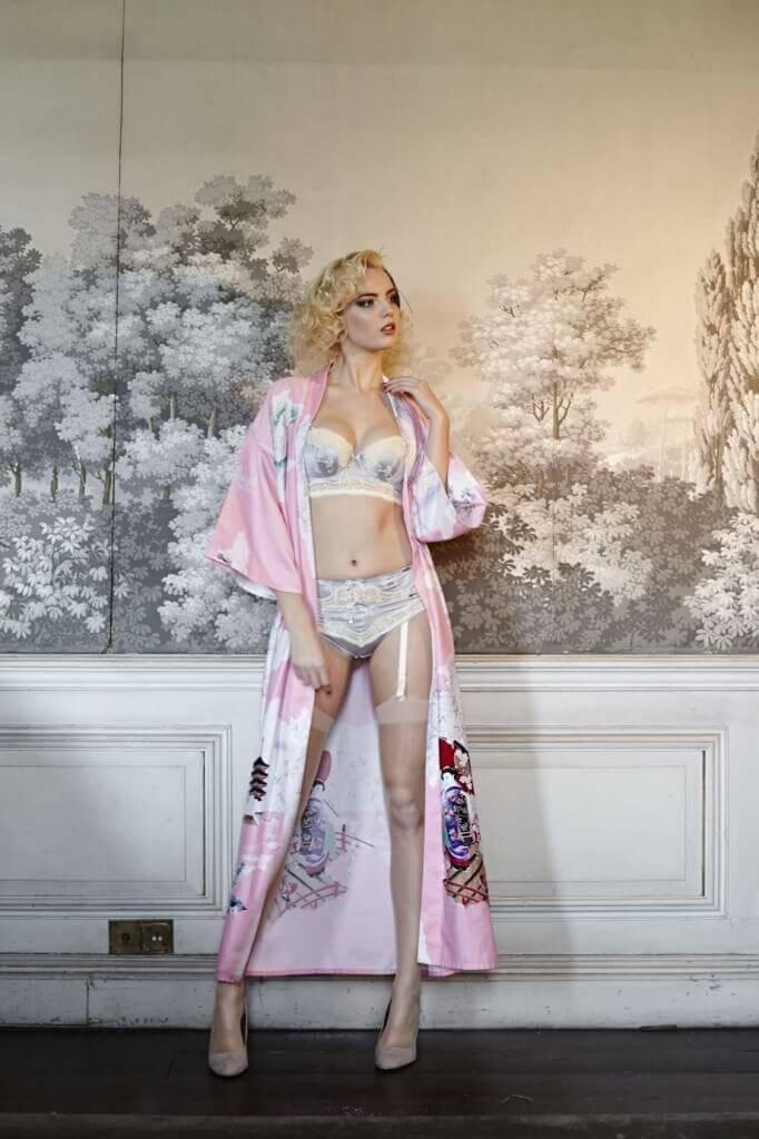 Lingerie by Fauve Lingerie. Kimono by Beyond Retro