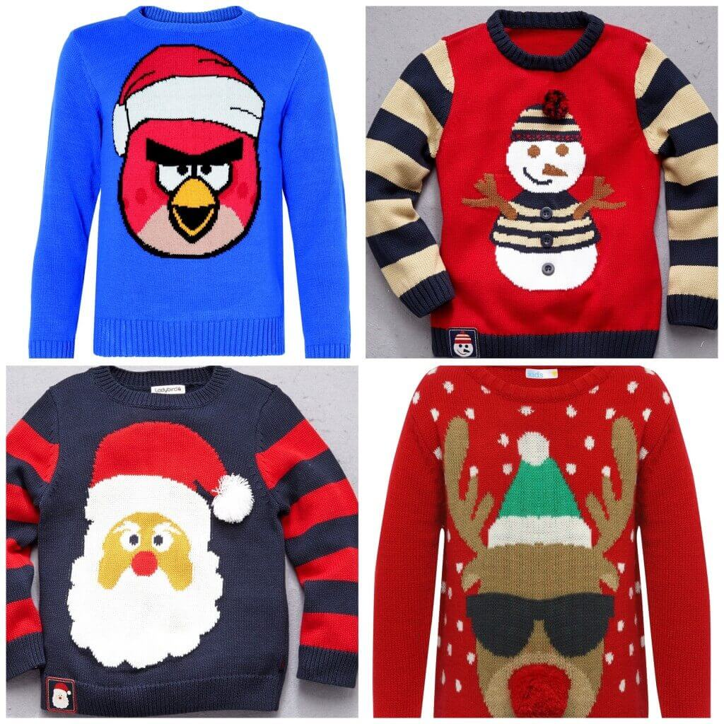 Angry Birds jumper, £18, M&S. Snowman jumper, £17, Littlewoods.com. Father Xmas jumper, £17, Littlewoods.com. Reindeer jumper, from £16, M&Co.