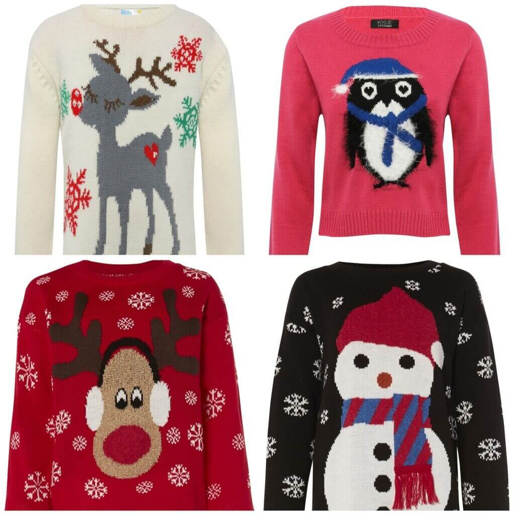 Girls cream reindeer jumper,£15, M&Co. Penguin jumper, £18, M&Co. Red reindeer jumper, £18.99, Sophie at Internacionale. Snowman jumper, £18.99, Sophie at Internacionale.