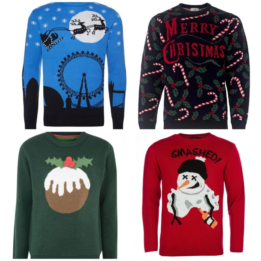 Blue light-up jumper, £18, Primark. Candy stick jumper, £25, M&S. Xmas pudding jumper, £20, BhS. Melting snowman jumper, £19.99, Get The Label