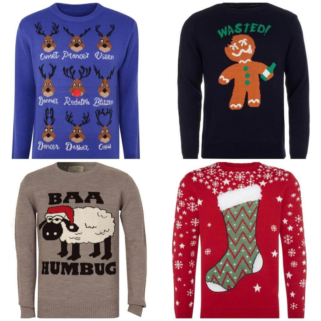 Blue reindeers jumper, £20, BhS. Gingerbread jumper, £19.99, Get THe Label. Xmas stocking jumper, £12, Primark.