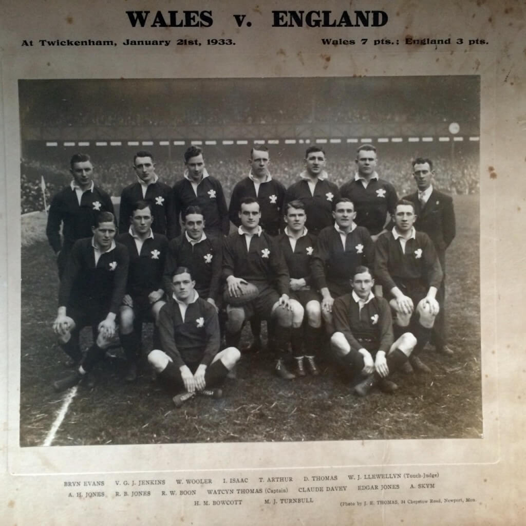 My Grandfather, Edgar Jones. Prop for Wales team. Middle Row second from right
