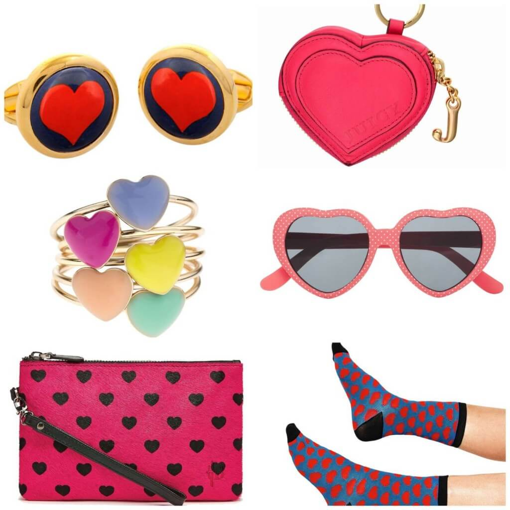Heart cufflinks, £79, Amara. Heart Keyring, £50, Juicy Couture. Sunglasses, £15, Monsoon. Socks, £2, Tiger Stores. Stck of rings, £6, Accessorize