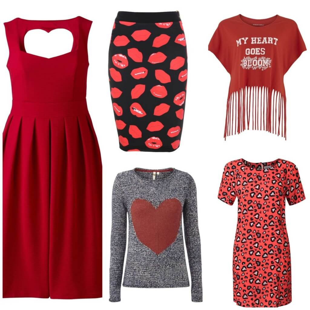 Cut-out Heart dress, £49, Simply Be. Lip Skirt, £59, House of CB. Fringed top, £9.90, People Tree. Heart jumper, £55, White Stuff. Heart print dress, £45, Oliver Bonas