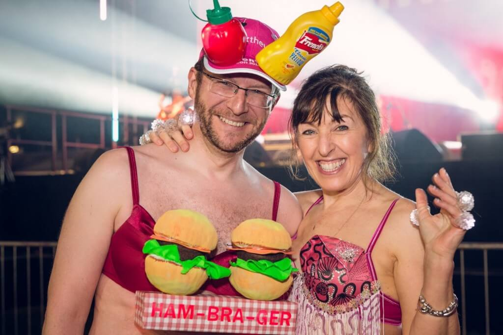 Founder & Chief Executive Nina Barough with saucy Ham- Bra-Ger Man!