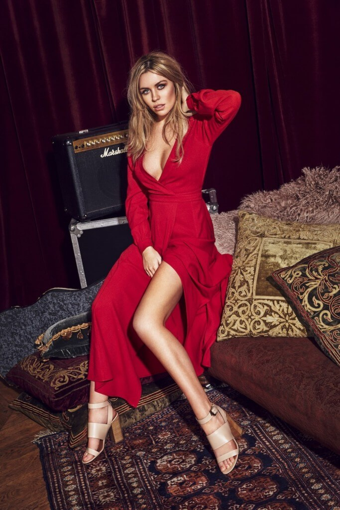 Red wrap plunge neck dress, £40