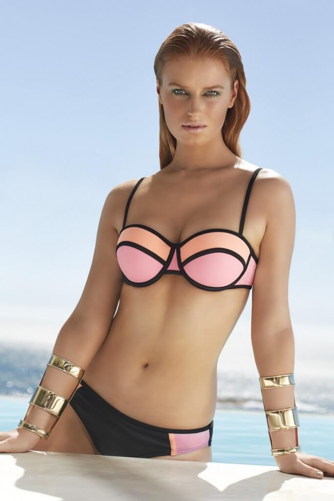 Colour block balocony bikini top, £8, sizes 32C to 38F and matching briefs, sizes 8-18 by F&F