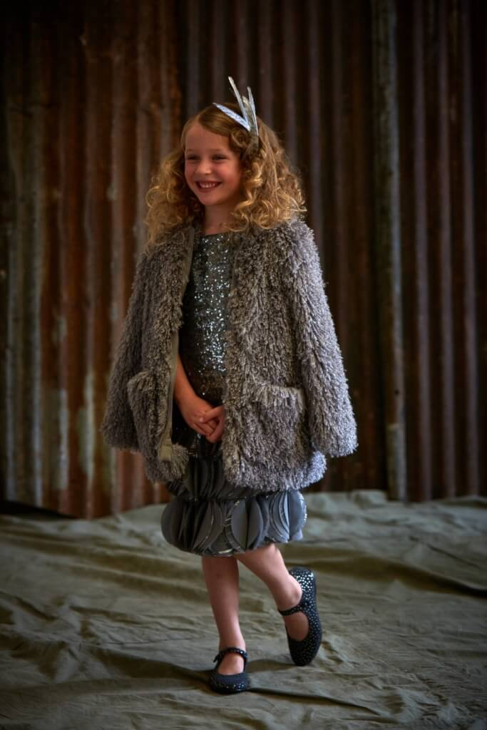 Maisie wears sequin dress, from £238, 4-14Yrs John Galliano Kids. Jacket, £124, 3-14Yrs Stella McCartney Kids. Shoe by Bonpoint.