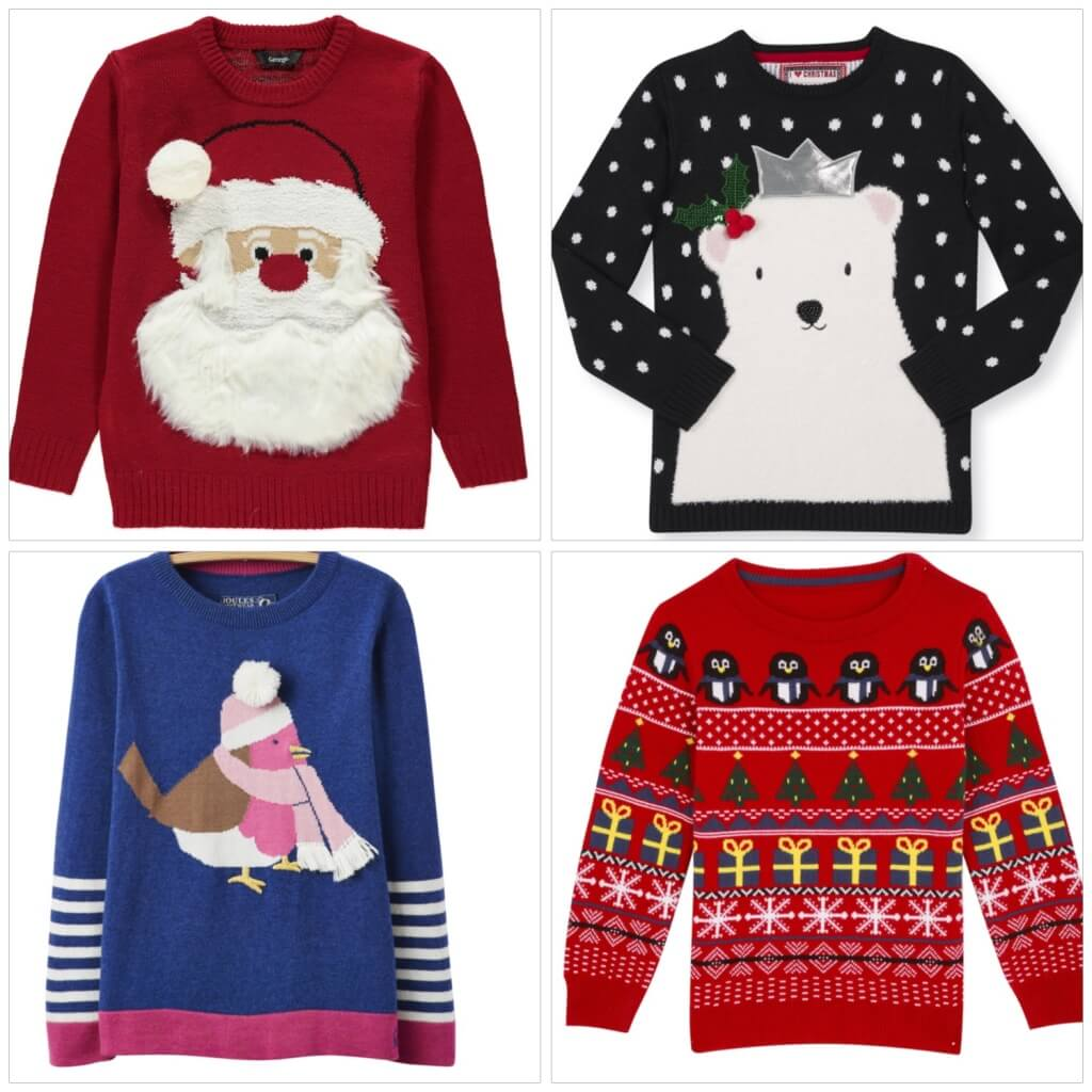 Clockwise from the top.Red Father Xmas Jumper, £8, 9M-3Y, George At Asda.Light Up Polar Bear Jumper, £14, 1-8Y, Primark. Red Xmas Jumper, £12, 12M-8Y, BhS. Blue Robin Jumper, £36.95, 3-12Y, Joules.