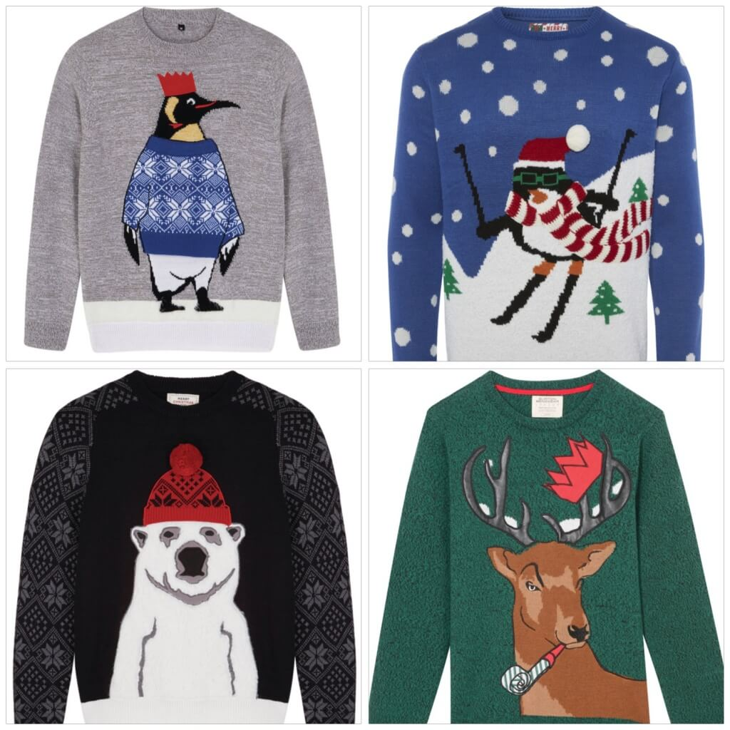 Clockwise from the top. Grey Penguin Jumper, £25, XS-XXXL, Next. Blue Skiing Penguin Jumper, £12, XS -XXL, Primark. Polar Bear Jumper, £30, XS-XXXL, Next. Green Reindeer Jumper,£25, XS-XL, Burton Menswear.