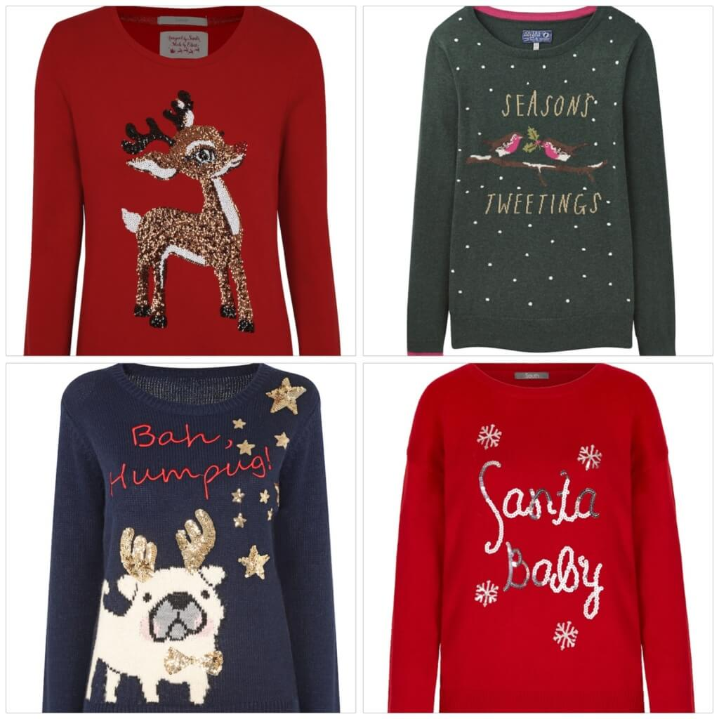 WOMAN'S SELECTION Clockwise from the top - Red Reindeer jumper, £12, 8-22, George at Asda. Green robin jumper,£49.95, 6-20, Joules. Red Santa Baby Jumper, £20, 8-18, Very. Bah Humbug Jumper,£26, 6-22, Dorothy Perkins.