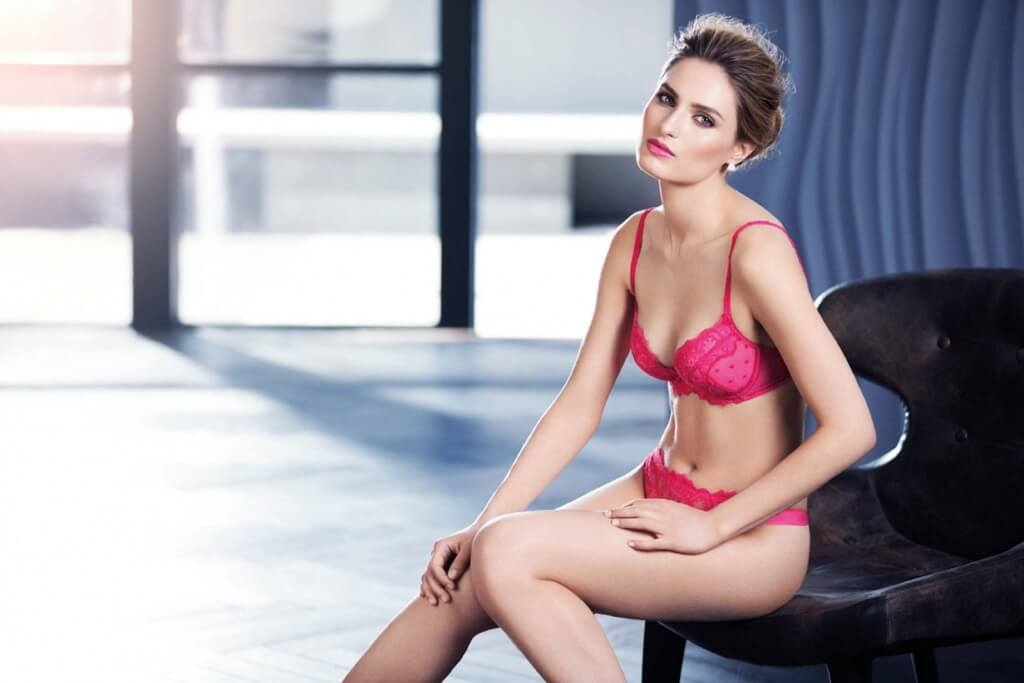 Red lace bra, £70, 32B-42E and matching knickers, £35, S-L both by Wacoal.