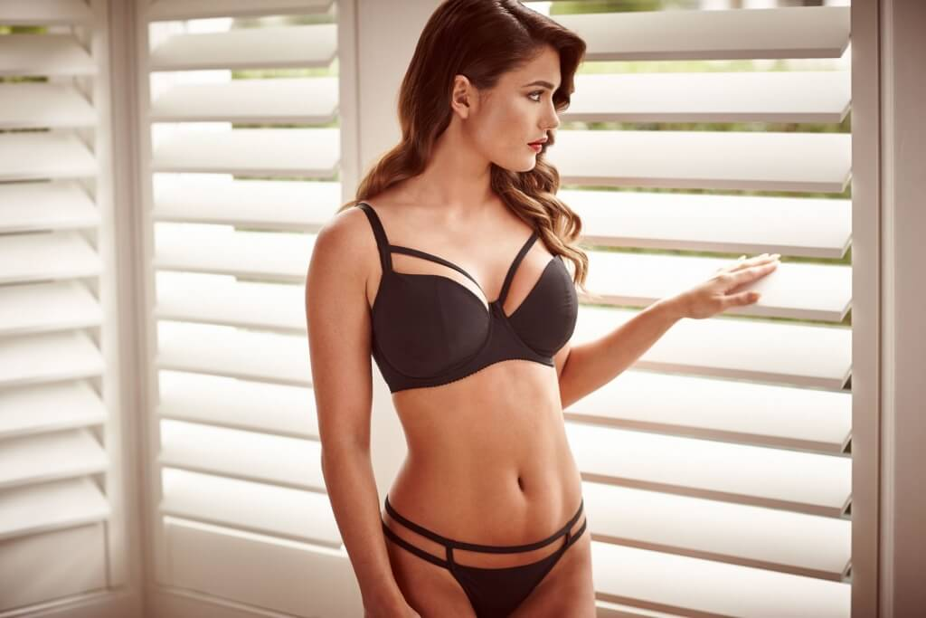 Black silk scrappy bra, £111, 26D-36HH and matching thong, £51, 6-16 both by Katherine Hamilton Intimates.
