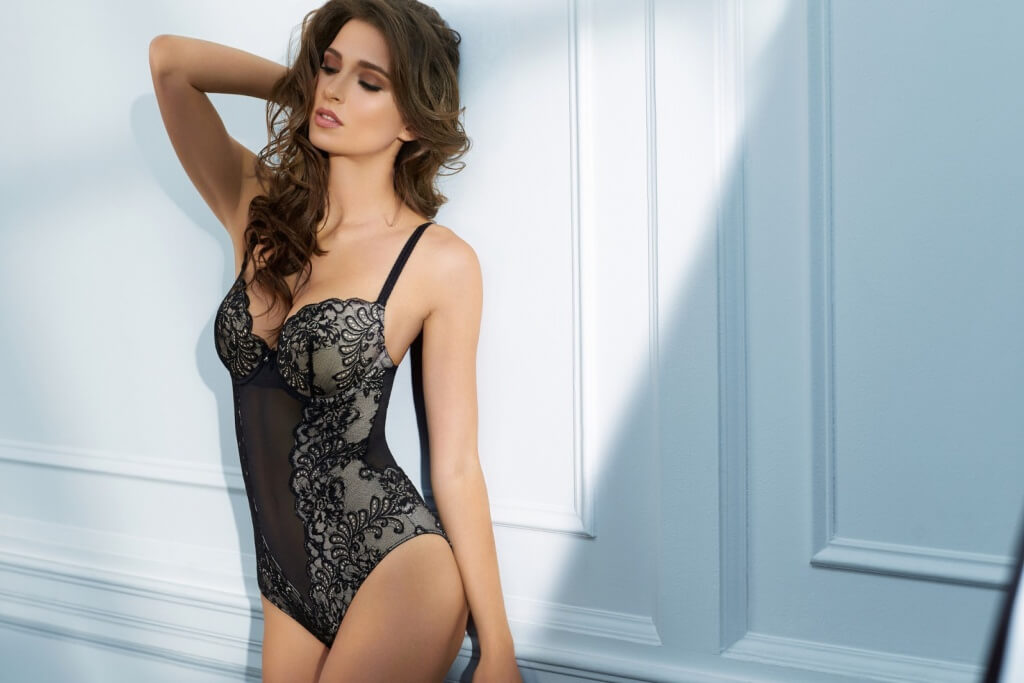 Black lace bodysuit, £90.95, 32C-36E by Le Mystere.