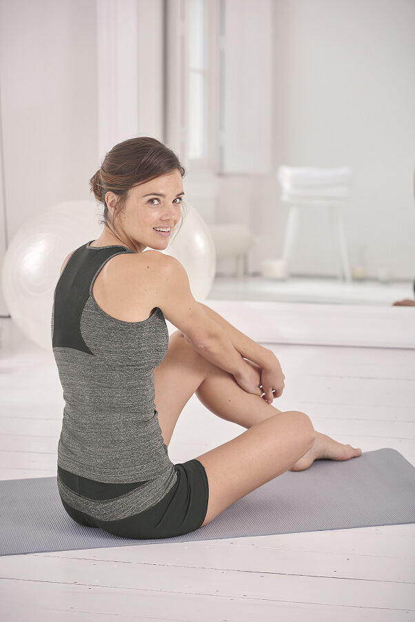 Seamed Racer Back Vest, £39 and Shorts, £30 both sizes 8-16 by The White Company.