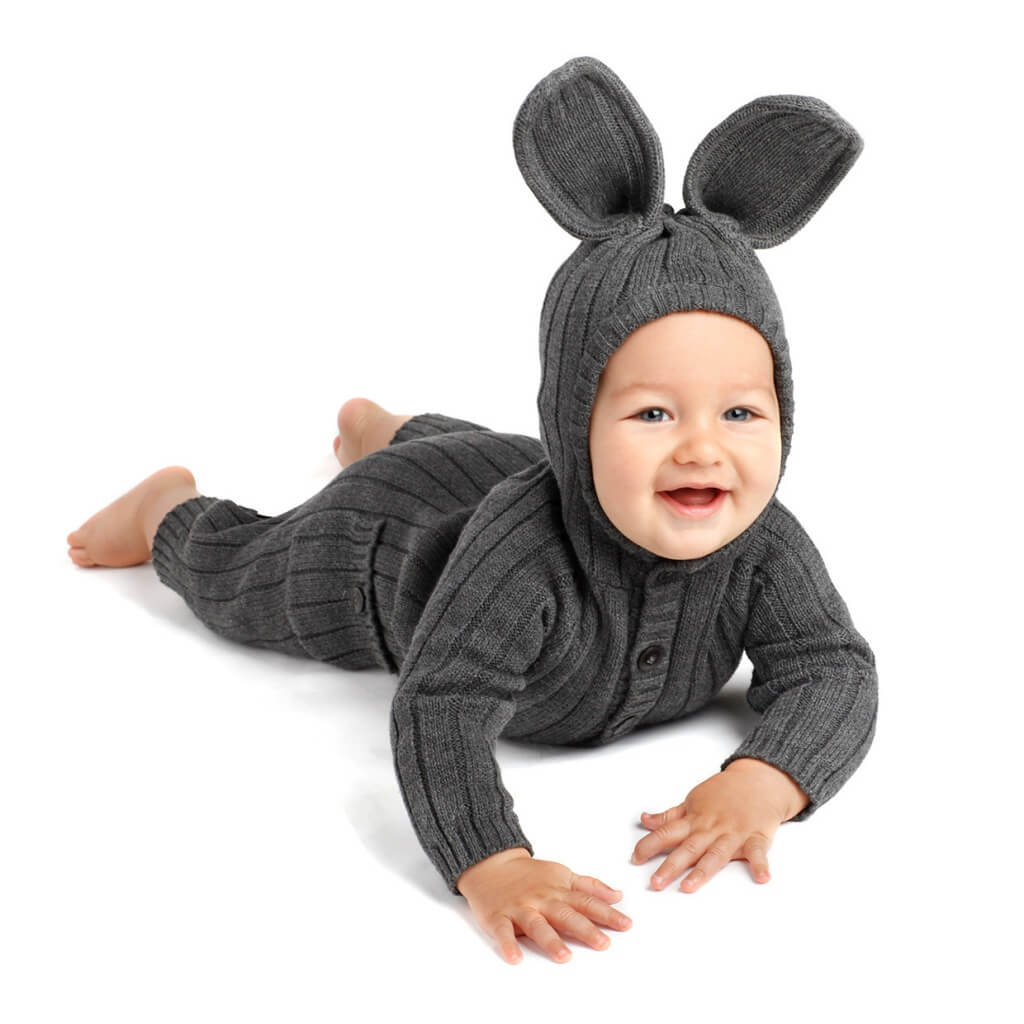Cotton knit bunny romper, £69.34 by Blamo Toys at Etsy.