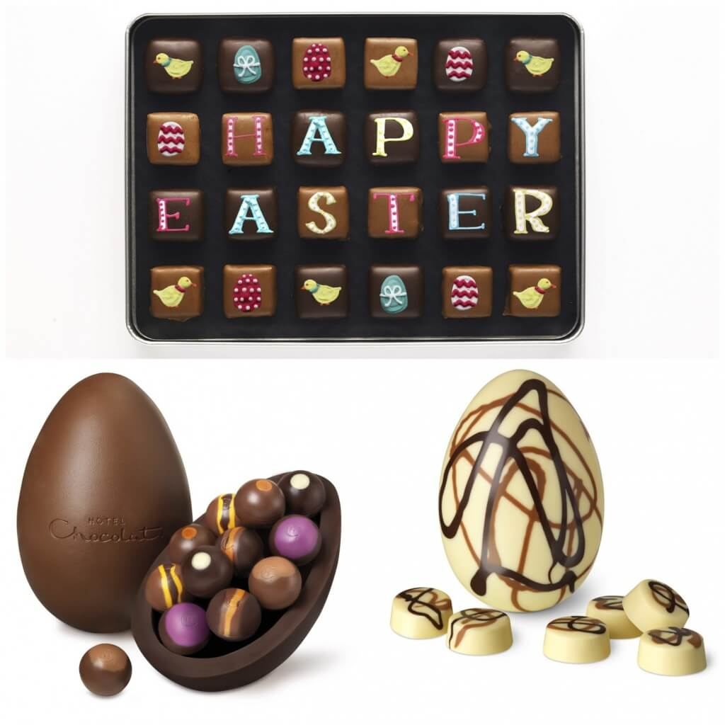 Box of chocolate biscuits, £35, Biscuiteers Baking Company. Milk chocolate egg, £27 and White chocolate egg, £15 both Hotel Chocolat.