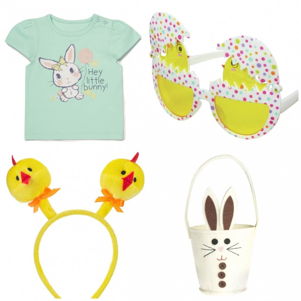 Green bunny Top, £3.50, M&Co. Easter egg glasses, £4, Paperchase. Bunny Easter egg basket, £3.99, Hoi Polloi Gifts. Chick head boppers, Poundland.