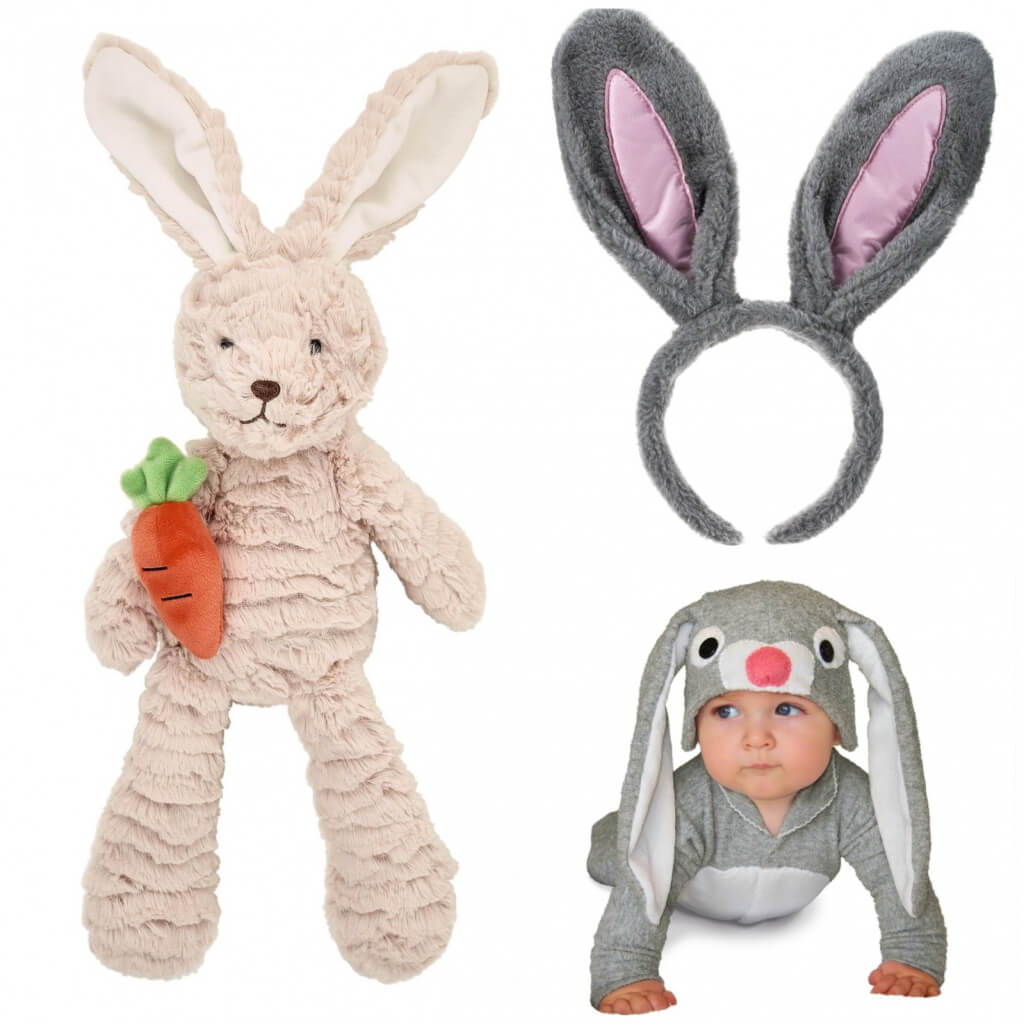 Supersoft bunny, £8, Sainsbury's Home. Fluffy bunny ears, Poundland. Bunny costume and hat, The Little Distinctions.