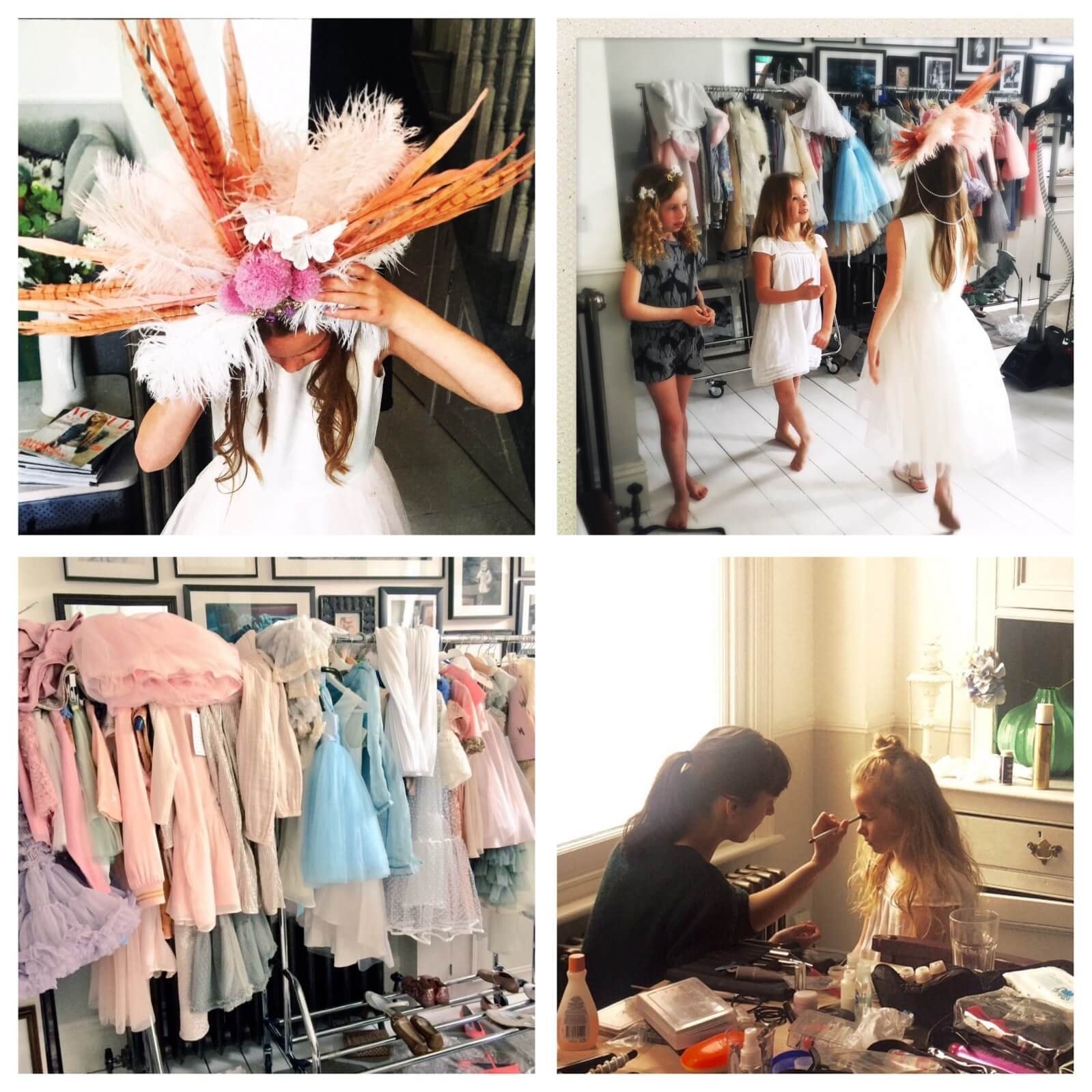 Behind the Scenes of our beautiful shoot. Top Left, Freya adjusts beautiful Astrobohemia headdress. Top Right, The girls relax in between shots in the dressing area. Bottom left, Rails and rails of beautiful clothes. Bottom right, Make-Up artist Rose perfects the ballet look on Poppy.