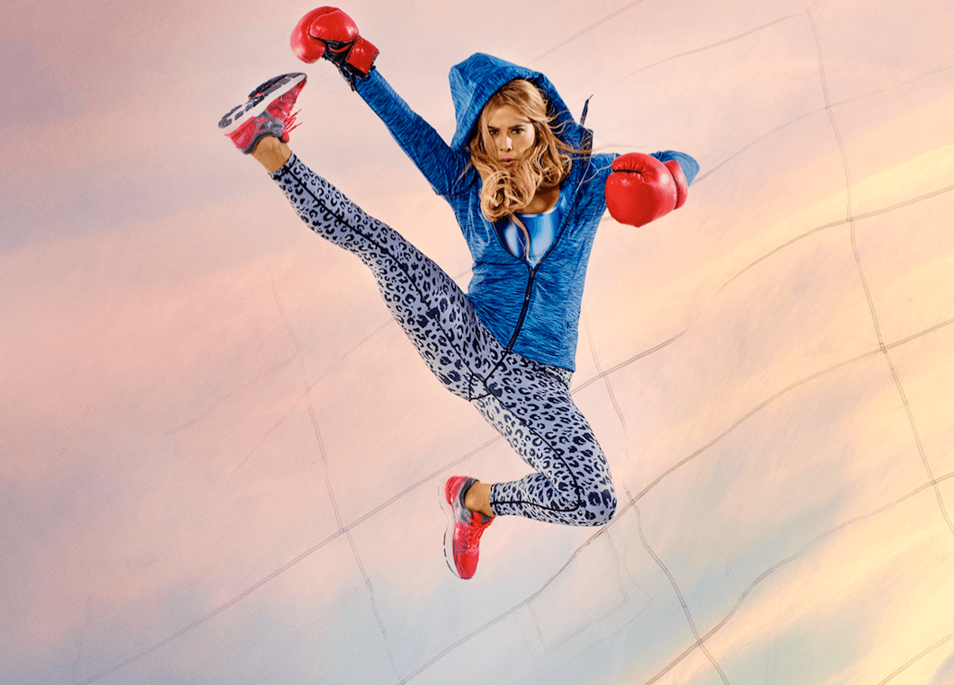 Tara wear hoody by Zakti Active. Cropped top by Gap Active. Leopard print leggings by Born Nouli. Trainers by 361 Sports.